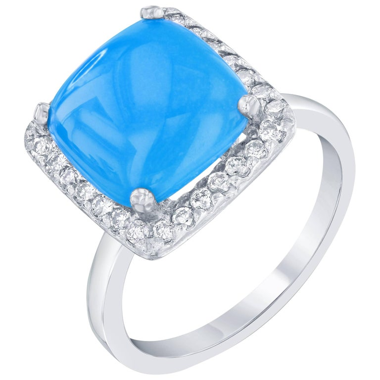 3.40 Carat Turquoise Diamond Cocktail Ring