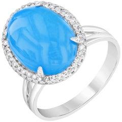4.72 Carat Turquoise Diamond Cocktail Ring