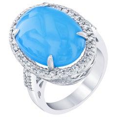 9.35 Carat Turquoise Diamond Cocktail Ring