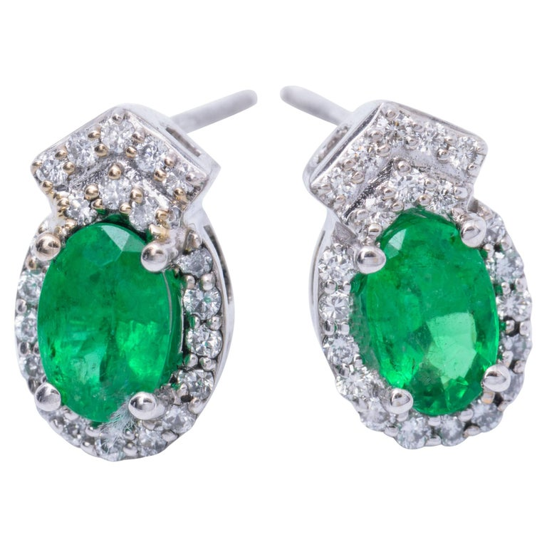 Emerald And Diamond White Gold Drop Earring Studs For