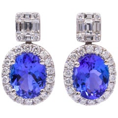 18 Karat Tanzanite Drop Earrings with Round and Baguette Diamonds 3.30 Carat