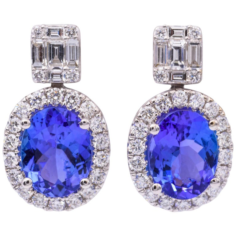 18 Karat Tanzanite Drop Earrings with Round and Baguette Diamonds 3.30 Carat For Sale