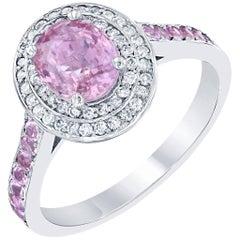 2.20 Carat Pink Sapphire Diamond 18 Karat White Gold Ring