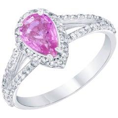 1.61 Carat Pink Sapphire Diamond Ring