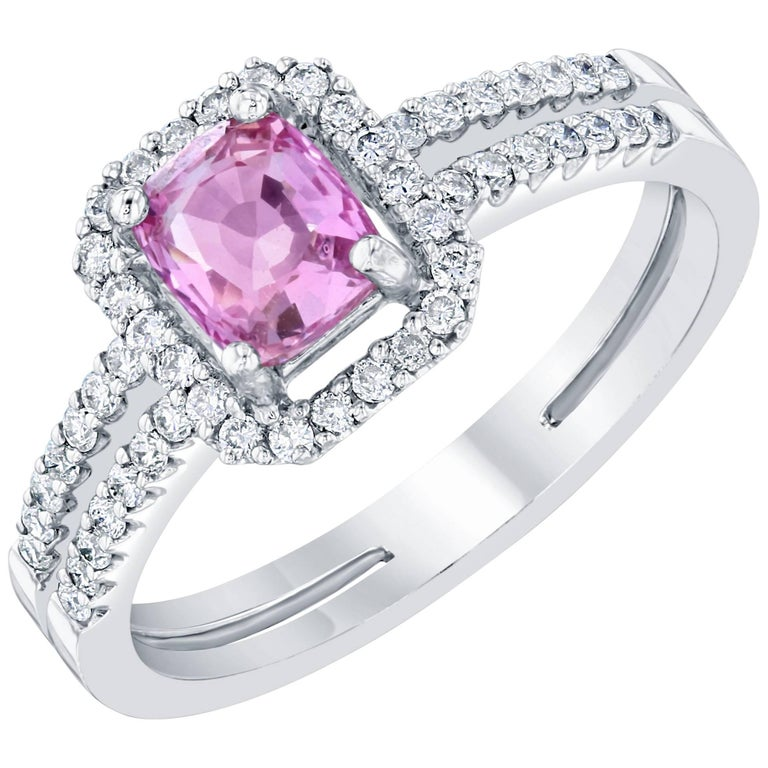 GIA Certified Pink Sapphire Diamond Ring For Sale