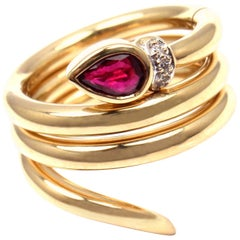 Ponte Vecchio Ruby Diamond Puzzle Stacking Snake Yellow Gold Band Ring