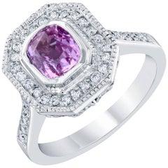 1.87 Carat Pink Sapphire Diamond Ring