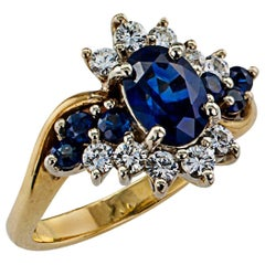 Sapphire Diamond Cluster Two-Tone Gold Ring