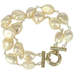 Decadent Jewels Fresh Water Pearl Double Strand Silver Bracelet