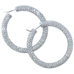Large Fine Diamond Hoop Earrings, Pierre/Famille