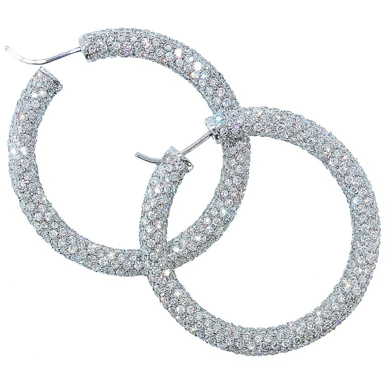 Large Fine Diamond Hoop Earrings, Pierre/Famille