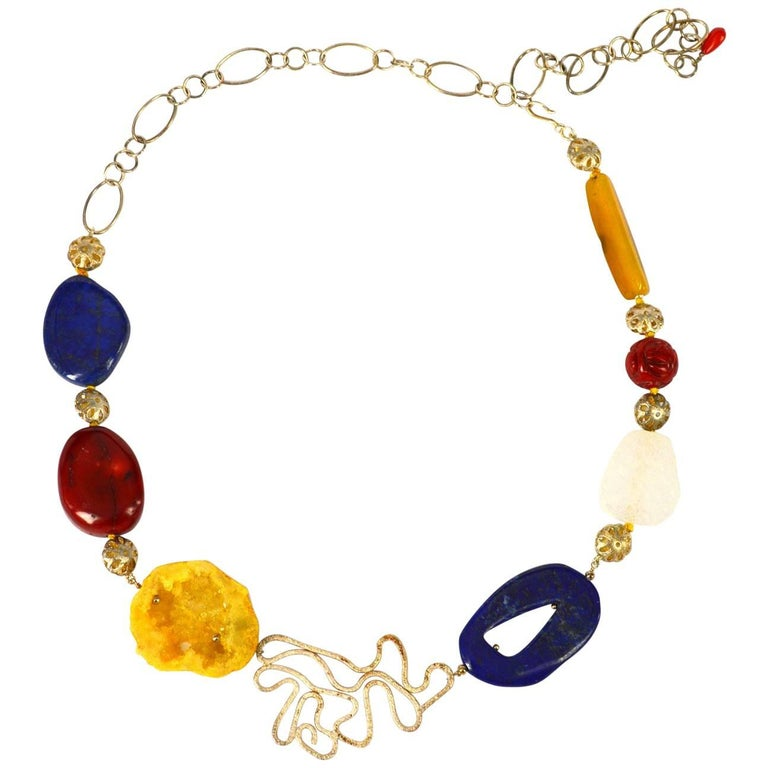 Decadent Jewels Lapis Lazuli Coral Agate Silver Necklace