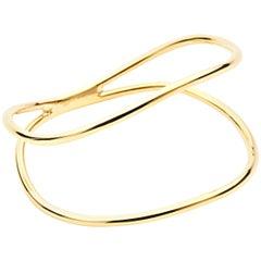 Curved Double Bracelet, Modern Contemporary 18 Carat Gold Vermeil Bracelet