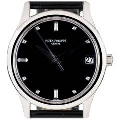 Patek Philippe Platinum Calatrava Black Diamond Dial Automatic Wristwatch