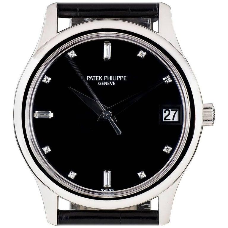 Patek Philippe Platinum Calatrava Black Diamond Dial Automatic Wristwatch