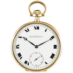 Patek Philippe Yellow Gold Open Face White Roman Dial Pocket Watch