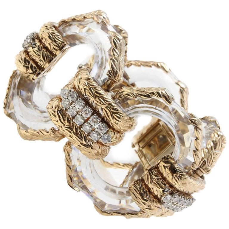 Retro Rock Crystal and Diamonds Rose Gold Link Bracelet