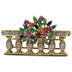 Contemporary Sapphires Rubies Emeralds and Diamonds Yellow Gold Brooch