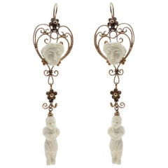 Georgian, Rose Gold Diamonds and Ivory Dangle Earrings