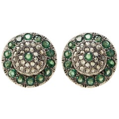 Late Victorian Rose Gold and Silver, Diamonds and Emeralds Stud Earrings