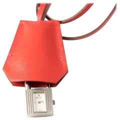 Hermes Red Leather Kelly Watch Purse Accessory