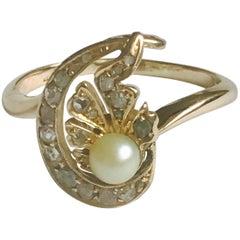 18 Karat Rose-Cut Diamond and Cultured Pearl Edwardian Ring