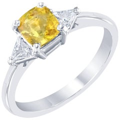 1.41 Carat GIA Certified Yellow Sapphire Diamond Engagement Ring