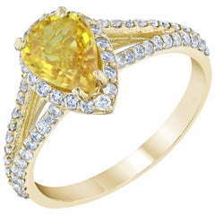 1.91 Carat Yellow Sapphire Diamond Yellow Gold Cocktail Ring