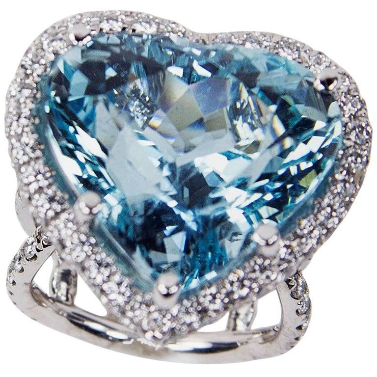 Coach House 29.60 Carat Heart Shaped Aquamarine Diamond Gold Ring