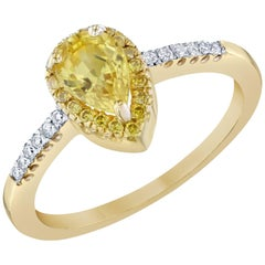 1.19 Carat Yellow Sapphire 14 Karat Yellow Gold Halo Diamond Ring
