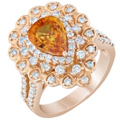 3.02 Carat Orange Sapphire Diamond Cocktail Ring