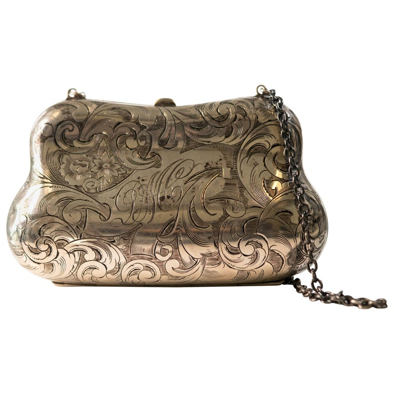 1940s Sterling Silver Floral Engraved Clutch
