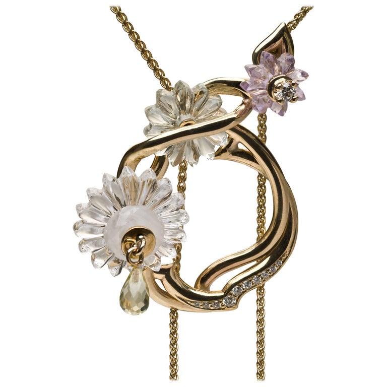 Alice Cicolini Summer Snow Gold and Diamond Sautoir Necklace
