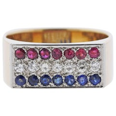 1970s Dinh Van Diamond Sapphire Ruby Gold Square Ring