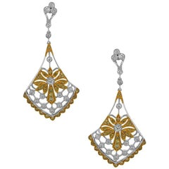 Yellow Diamond and White Diamond Chandelier Earrings