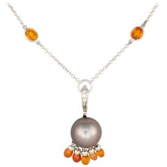 Ella Gafter Black Tahitian Pearl Sapphire and Diamond Gold Pendant Necklace