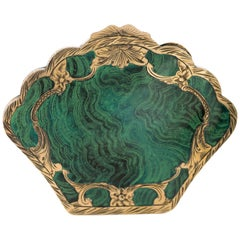 1920s Sterling Silver Malachite Inlay Compact Mirror