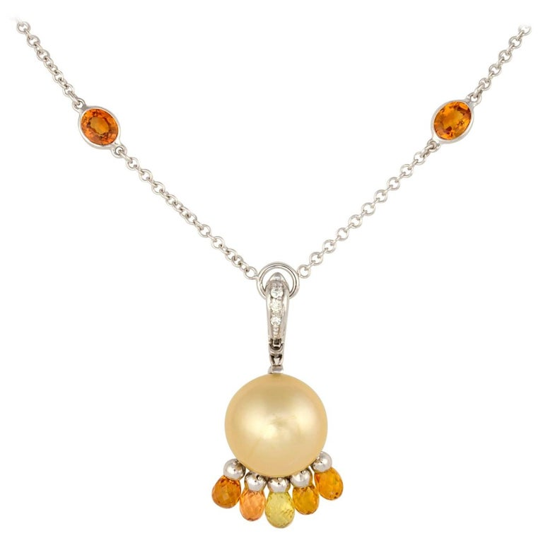 Ella Gafter Golden Pearl Sapphire and Diamond Gold Pendant Necklace