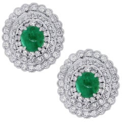 Cabochon Emerald and Diamond Earrings