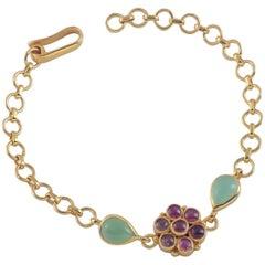 Emma Chapman Tourmaline Chrysoprase Gold Plate Bracelet