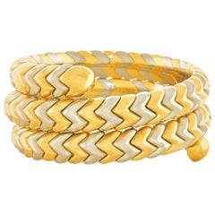 "Bulgari Gold and Steel ""Spiga"" Snake Bracelet"