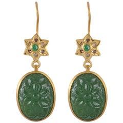 Tsavorite Diamond Carved Drop Earrings