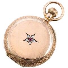 Elgin Rose Gold Diamond Ruby Pocket Watch, 1887