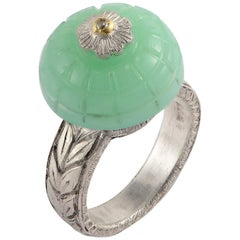 Emma Chapman  Chrysoprase Diamond Cockail Ring
