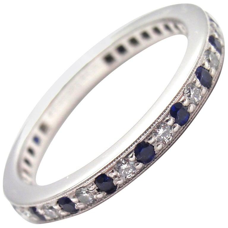 Tiffany & Co. Legacy Diamond Sapphire Platinum Band Ring