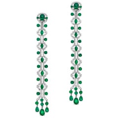 Emerald and Diamond Line Earrings