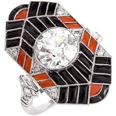 Platinum Jazz Design Cocktail Engagement Ring