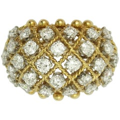 Van Cleef & Arpels Lattice Diamond Gold Ring