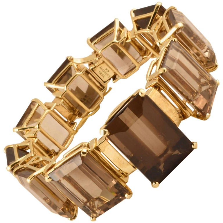 Tony Duquette 287 Carat Smoky Quartz Gold Bracelet For Sale