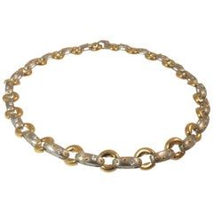 18 Karat Yellow Gold and Platinum Diamond Necklace